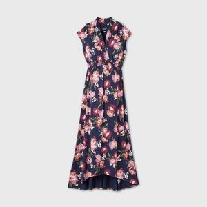 Ingrid and Isabel Navy Floral Maternity Dress